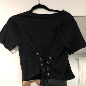 Black crop top with front tie detail